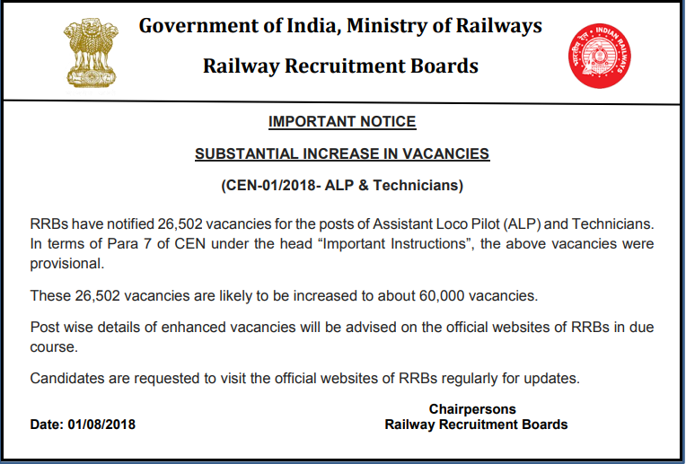 Railway Recruitment 2018 Vacancies Incremental Notice