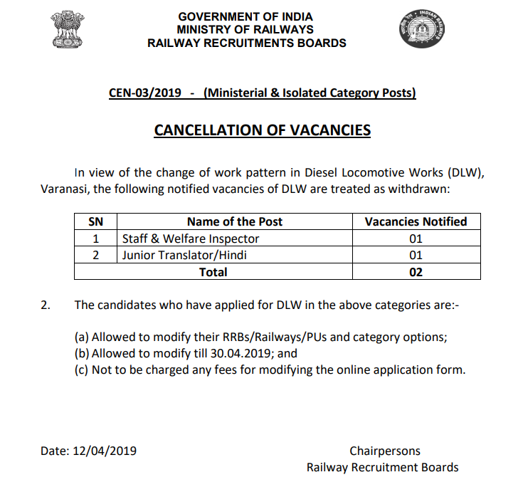 Cancellation of Vacancy