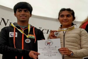 Esha and Akull won silver in the International Shooting Competition