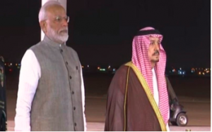 Prime Minister Narendra Modi left on a two-day visit to Saudi Arabia.